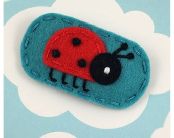 As Seen In Lucky Kids Magazine Ladybug Teal Hair Clip, NO SLIP