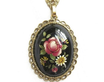 Floral Cameo Pendant Necklace Vintage Filigree Gold Tone signed 1928