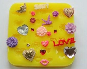 Cherub Heart Resin Mold Silicone Heart Mold Flowers Lips Druzy Mum Valentine Gem Love Moulds Baking Jewelry DIY Polymer Clay Wax Fondant