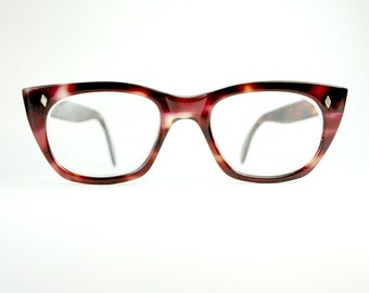 Vintage 1950s Thick Horn Rim Pink Cherry  Demi  Amber Tortoiseshell Eyeglasses Optical Frame Large Mad Men Chick