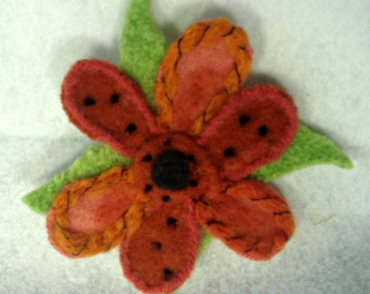 Felted Flower, Felted Brooch, Needle Felt Flower