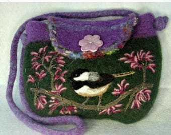 MY BIRTHDAY SALE Felted Purse, Felted Handbag, Chickadee Art, Bird Art, Needle Felt Bird,hand knit purse, wool purse