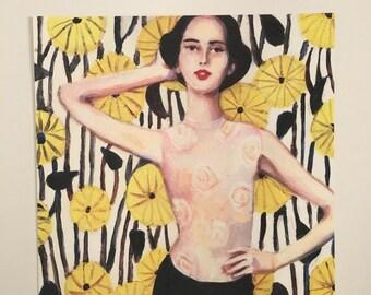 Model with flowers print on paper- wall art- art decor -  woman PORTRAIT ART PRINT
