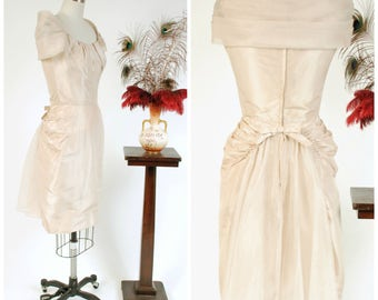 Vintage 1950s Dress - Fabulous Oyster Colored Silk 50s Bustle Backed Cocktail Party Dress with Organza