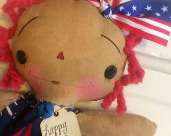Fourth of July Raggedy Ann - patriotic doll - Raggedy Annie doll - doll - Ragdoll - primitive patriotic -