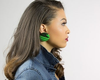 African fabric jewelry, African earrings, African jewelry, Kente fabric earrings, Kente jewelry, Green and black earrings, Green earrings