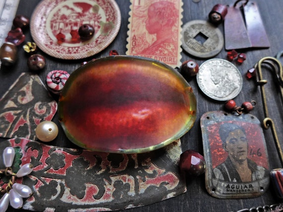 Rustic resin inspiration kit- bead soup junk lot assortment- Red Lips Bracelet