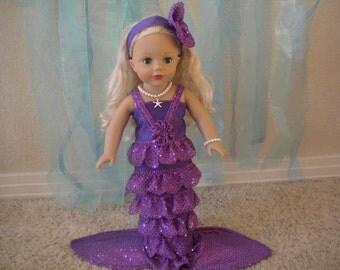 4-pc Purple Mermaid Costume for 18 inch dolls