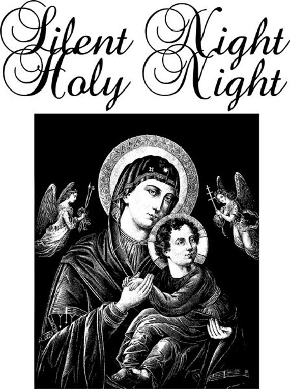 Silent Night Holy Night Mother Mary baby Jesus printable art christmas vintage illustration Digital art Download graphics black and white