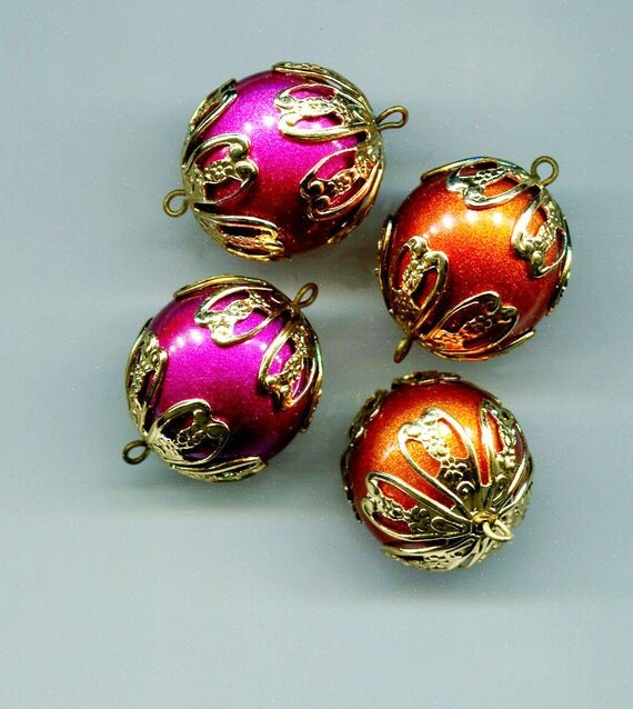 4 large bead drop charms bead pendants bead charms plastic big ball beads 25mm orange bead pink vintage bead lot large acrylic big beads