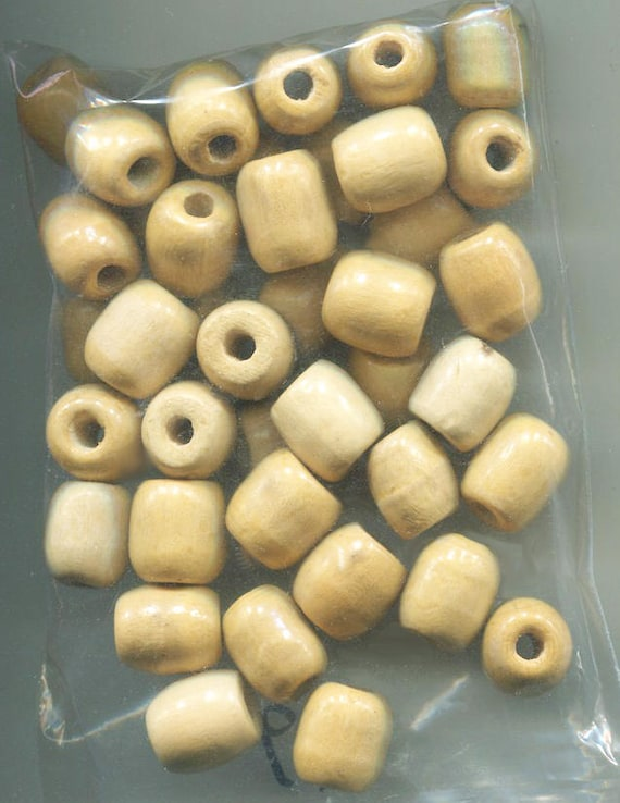 barrel beads wooden beads wood beads macrame beads unpainted beads big beads beige beads 12mm x 16 mm 10 pieces bead lot