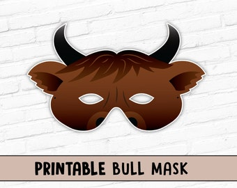 Bull Mask | Printable Brown Ox Mask | Bovine Mask | Lunar New Year Mask