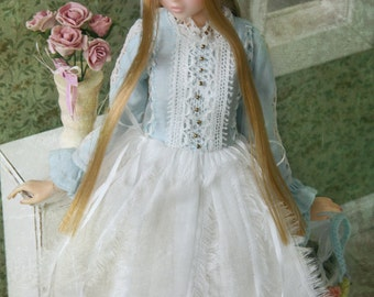 Jiajia Doll limited - squirrel set - 2 pieces blue and white lace dress and cream skirt for momoko Misaki Dorandoran obitsu fashion royalt