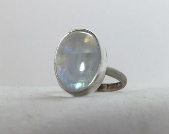 Large Moonstone Sterling Silver Ring/ Cocktail Ring/  Sterling Silver Gemstone Ring