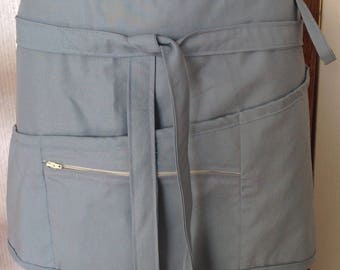 Vendor apron with zippered pocket lightweight chambray blue color