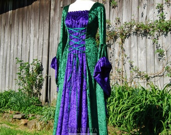 Medieval Gothic Woodland Fairy Dress Wedding gown Handfasting Celtic Made to order S - XX LGreen & Purple velvet