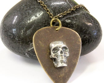 Skull Guitar Pick Necklace Silver Skull on Brass Plectrum Pendant Necklace 129