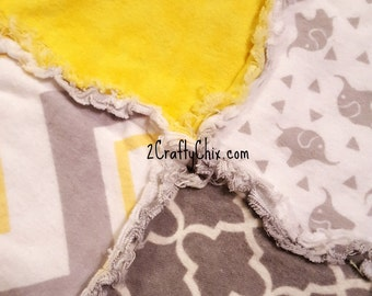 Elephants in Gray and Yellow Flannel Rag Edge Quilt 30in by 40in Handmade for Babies, Toddlers and Kids