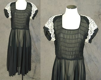 vintage 40s Sheer Dress - 1940s Smocked Chiffon Dress - Paul Sachs Black Ruched Cocktail Dress Sz M