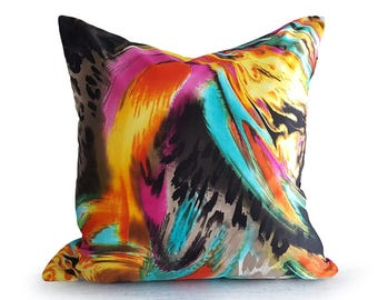 Cool Hippie Pillow, Colorful Trippy Pillow Covers, Organic Abstract Pillow, Teen Psychedelic Pillow, Urban Digital Print Pillows, 18x18