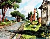 Reserved for Laura. Artist Aldo Raimondi Vintage Fine Print Picture Roma Via Appia Antica Italy Unique Water Color Rare Circa 1950s