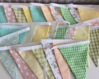 Sale Pastel Bunting / Garland / Fabric Banner - 17ft 5m long 28 Flags, Summer Celebration, Birthday Parties.