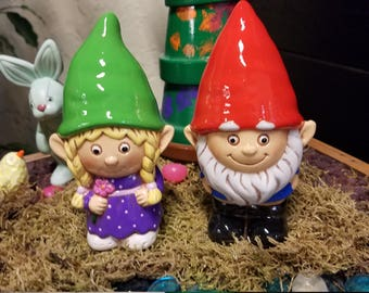 Hand Painted Ceramic Gnome Couple