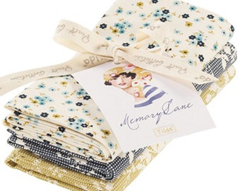 Tilda Fabric, Tilda 3 Piece Fat Quarter Pack, Memory Lane Collection, Tilda Cotton Bundle 481255, Fat Quarter, 50 cm x 55 cm