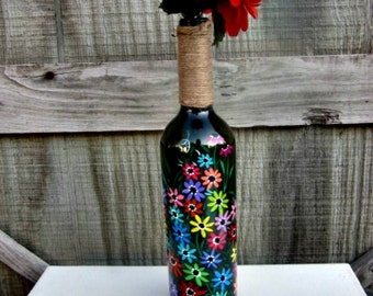 Wine Bottle Flower Vase, Hand Painted Glass Bottle, Colorful Flowers, Glass Vase