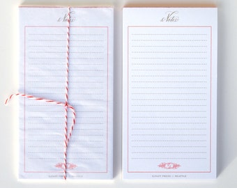 red notepad, 3.5 x 5.5