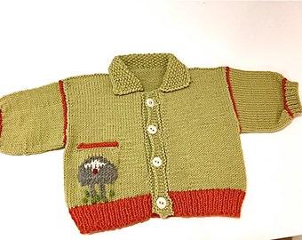Baby Cardigan/Hand Knit Wool/Hand Knit/Sheep Baby Cardigan/Newborn-18mos/Debby Ware/Martha's Vineyard/Sheep Cardigan/Hand Knit/Baby Knit