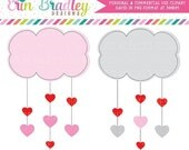 70% OFF SALE Valentines Day Clipart Heart Clouds Clip Art Digital Holiday Graphics Hearts and Clouds Instant Download