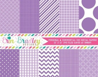 50% OFF SALE Purple Digital Paper Pack Personal & Commercial Use Scrapbooking Papers Instant Download