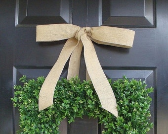 CHRISTMAS WREATH SALE Square Boxwood Wreath- Artificial Boxwood Wreath with Burlap Ribbon- Spring Wreath for Door -Year Round Wreath- 20 Inc