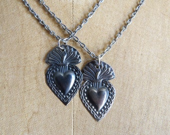 Antique SACRED HEART Intricate Milagro Necklace- Perfect gift for the one you love- You will receive only one necklace