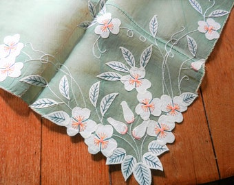 NOS Sheer Tablecloth, Hand Stitched Tablecloth, Green Tablecloth, Floral Tablecloth, Never Used Tablecloth, Apple Blossom Table Topper