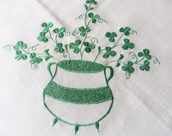 Shamrock Tablecloth, Irish Tablecloth, Linen Tablecloth, Green Tablecloth, Ireland Tablecloth,