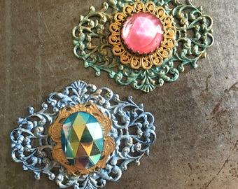 Vintage Filigree Pendants Hand Patina Glass Cabochons Two Pieces Violet's Cottage Assortment