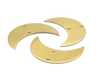 Moon Phase Pendant, 10 Raw Brass Crescent Shaped Pendants with 2 Holes (30x11x0.80mm) D081