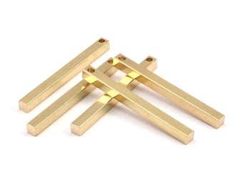 Minimalist Bar Pendant, 12 Raw Brass Bars, Necklace, Earring Findings (3x3x35mm) D241