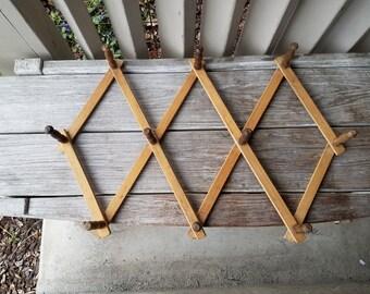 Large Vintage Wood Hanging Accordian Peg Rack