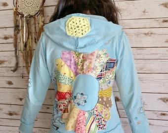 Embroidered Mandala  Upcycled Patchwork Hippie Boho Bohemian Gtpst Sweater Hoodie Jacket Sweatshirt Festival Women OOAK Size Medium