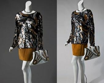 80s Oleg Cassini black, bronze, & silver sequin top | small medium