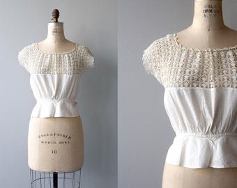 Tatted Lace camisole | antique 1910s crochet corset cover | vintage Edwardian camisole
