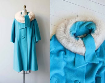 Kydra fox collar coat | vintage 1960s coat | fox fur collar 60s wool coat