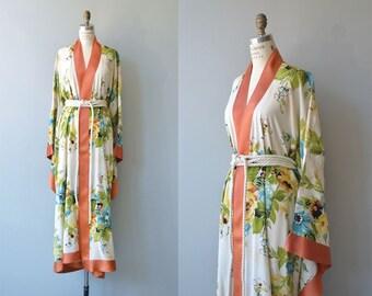 Bower of Enchantment robe | 1940s floral kimono robe | vintage 1940s floral wrapper
