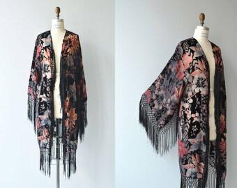 Djuna silk velvet jacket | vintage 1920s silk velvet jacket | fringed velvet 20s wrapper