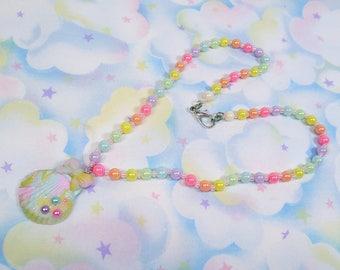 Fairy Kei necklace - Mermaid rainbow pearl shell with polymer clay charm