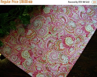 ON SALE Table Runner Bright Paisley Pink Orange Padded