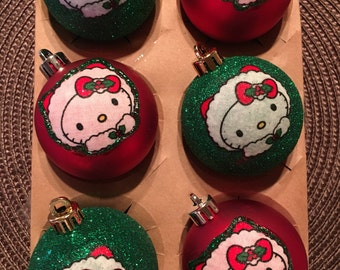 Hello kitty inspired Christmas Ornaments